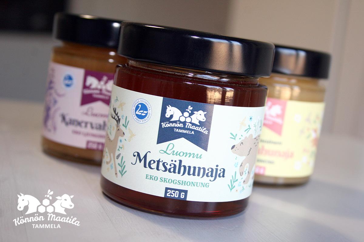 pakkaussuunnittelu hunajapurkit